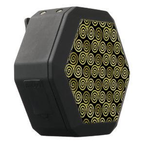 Triple spiral Gold Pattern Black Bluetooth Speaker