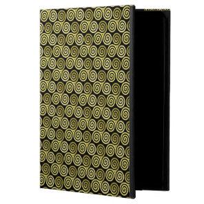 Triple spiral Gold Swirls Black background Powis iPad Air 2 Case