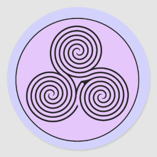 Triple Spiral Labyrinth Classic Round Sticker