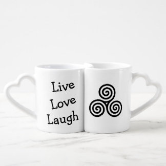 Triple spiral Live Love Laugh Black Coffee Mug Set