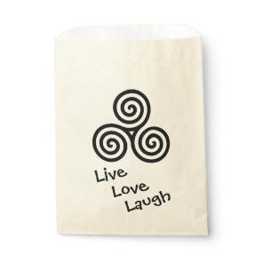 Triple spiral Live Love Laugh Black Favor Bag