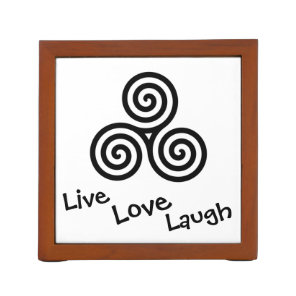 Triple spiral Live Love Laugh Black Pencil Holder