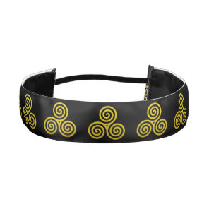 Triple spiral Live Love Laugh Gold Athletic Headband