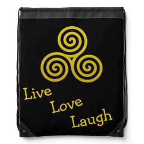 Triple spiral Live Love Laugh Gold Drawstring Bag