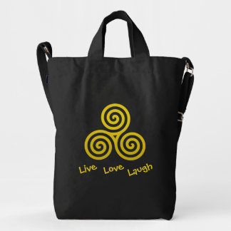Triple spiral Live Love Laugh Gold Duck Bag