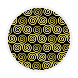 Triple spiral Live Love Laugh Gold Edible Frosting Rounds