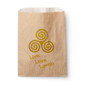 Triple spiral Live Love Laugh Gold Favor Bag