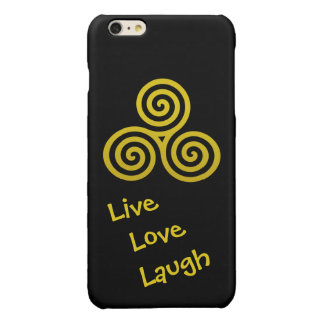 Triple spiral Live Love Laugh Gold Glossy iPhone 6 Plus Case