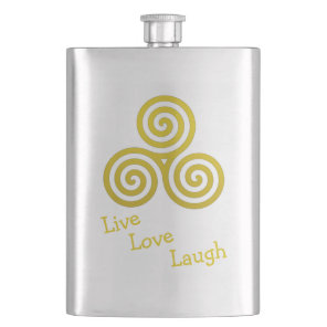 Triple spiral Live Love Laugh Gold Hip Flask