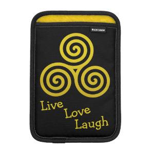 Triple spiral Live Love Laugh Gold iPad Mini Sleeve