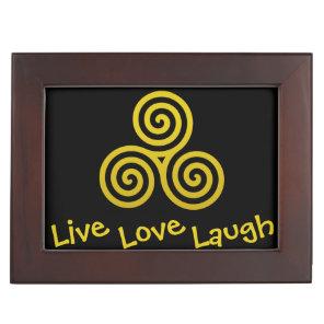 Triple spiral Live Love Laugh Gold Keepsake Box