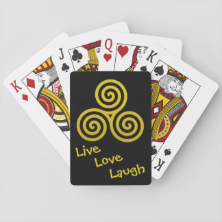 Triple spiral Live Love Laugh Gold Deck Of Cards
