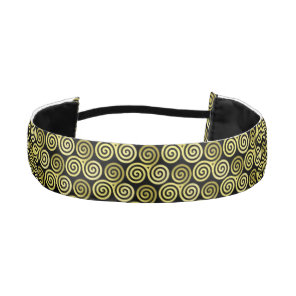 Triple spiral Live Love Laugh Gold Pattern Athletic Headband