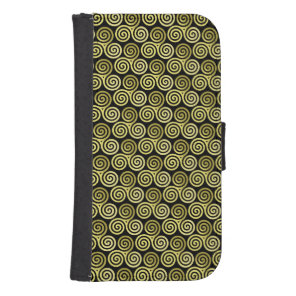 Triple spiral Live Love Laugh Gold pattern Phone Wallet