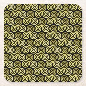 Triple spiral Live Love Laugh Gold Square Paper Coaster