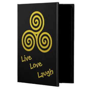 Triple spiral Live Love Laugh Gold Swirls Powis iPad Air 2 Case