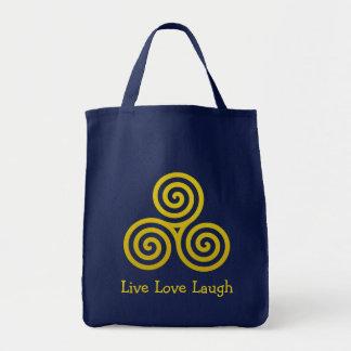 Triple spiral Live Love Laugh Gold Tote Bag