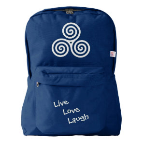 Triple spiral Live Love Laugh White Backpack