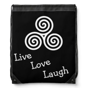 Triple spiral Live Love Laugh White Drawstring Backpack