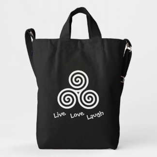 Triple spiral Live Love Laugh White Duck Bag