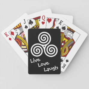 Triple spiral Live Love Laugh White Playing Cards
