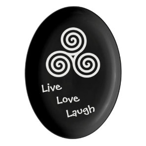 Triple spiral Live Love Laugh White Porcelain Serving Platter