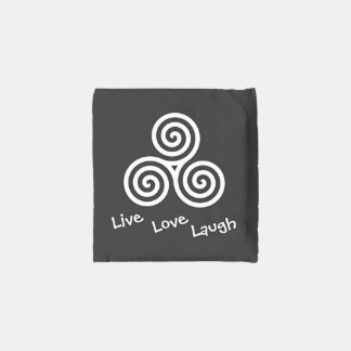Triple spiral Live Love Laugh White Reusable Bag
