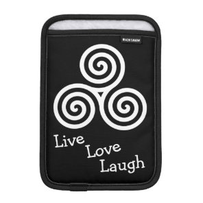 Triple spiral Live Love Laugh white Sleeve For iPad Mini