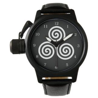 Triple spiral Live Love Laugh White Watch