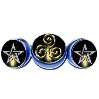 Triple Spiral Lunar Moon Pin Cutout