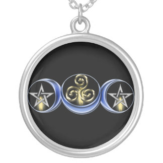 Triple Spiral Lunar Moon Silver Plated Necklace