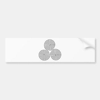 Triple Spiral Symbol Bumper Sticker