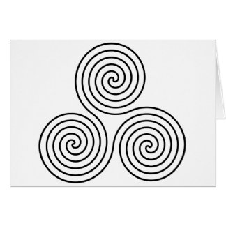 Triple spiral symbol. card