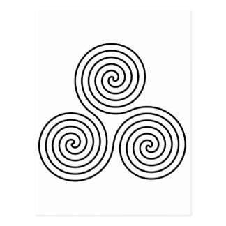 Triple spiral symbol. postcard