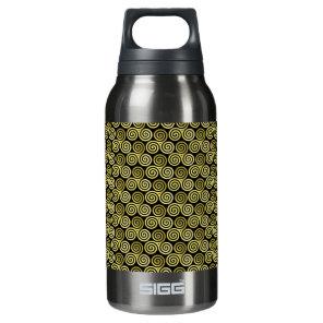 Triple spiral triskele Celtic Khaki Beige Insulated Water Bottle
