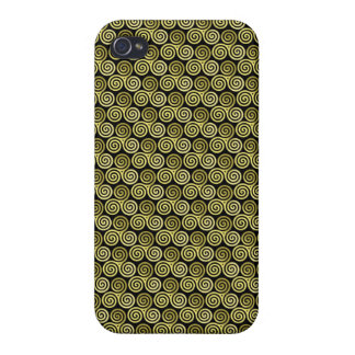 Triple spiral triskele Celtic Khaki Beige iPhone 4 Cases