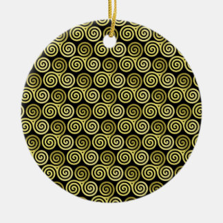 Triple spiral triskele Celtic Khaki Beige Double-Sided Ceramic Round Christmas Ornament