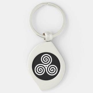 Triple spiral White Keychain