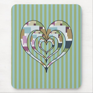 TRIPLE SQUARED HEART MOUSE PAD