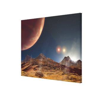 Triple Star Sunset From An Alien Planet Canvas Print