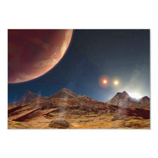 Triple Star Sunset From An Alien Planet Card