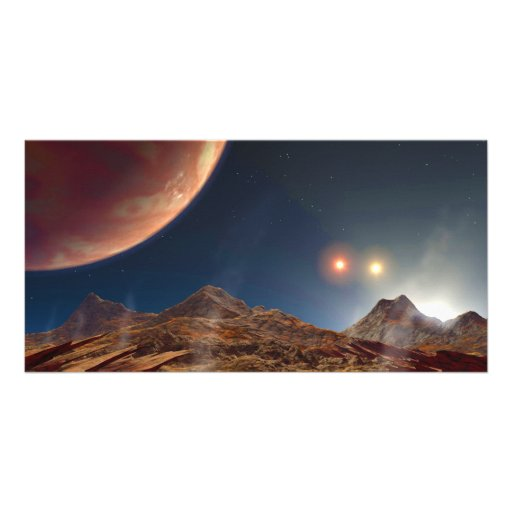 Triple Star Sunset From An Alien Planet Photo Greeting Card