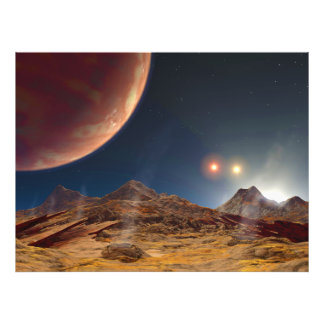 Triple Star Sunset From An Alien Planet Photographic Print