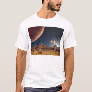 Triple Star Sunset From An Alien Planet T-Shirt