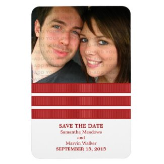 Triple Stripe Photo Save the Date Magnet, Red