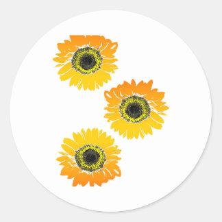 Triple Sunflowers Classic Round Sticker