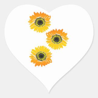 Triple Sunflowers Heart Sticker