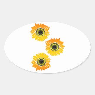 Triple Sunflowers Oval Sticker