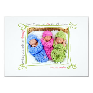 Triple The Blessings Christmas Photo Card