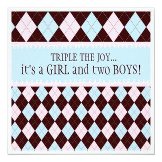 Triple the Joy Argyle Boy Girl Triplet Baby Shower Card